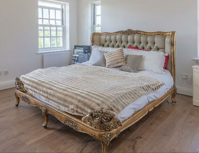 Versailles gold gilt french Upholstered Buttoned French Bed