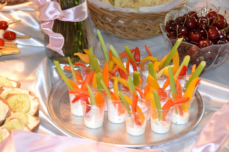 Veggies and dip in individual serving sizes for a bridal shower brunch