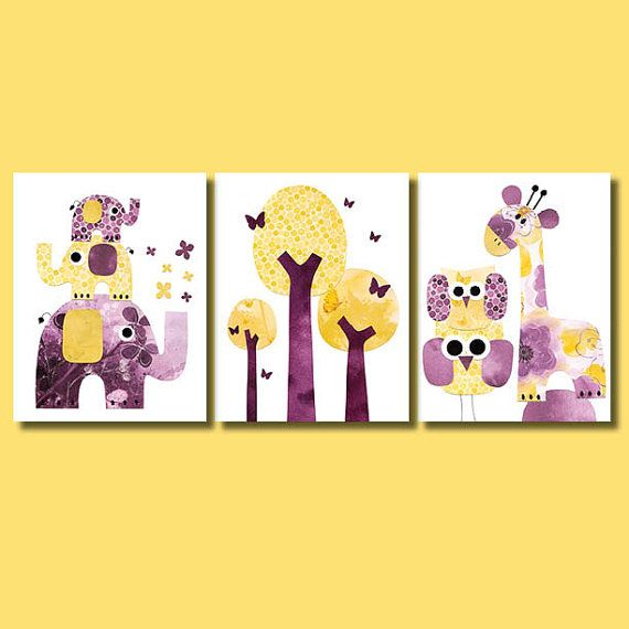 Three Elephants Purple And Yellow Nursery Artwork Print