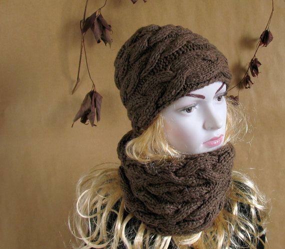 knit cowl scarf, hat set, dark beige, combo, winter, men, women