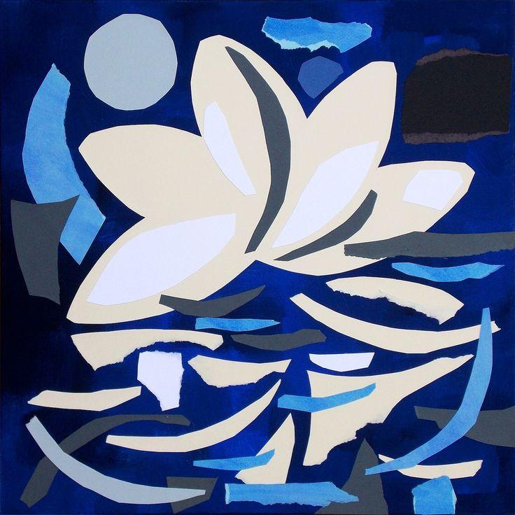 """andrea mattiello """"Solitudine notturna"""", acrilico e collage su tela cm 50x50; 2016 #andreamattiello #mattielloandrea #artist #emergingartist #artistaemergente #contemporaryart #collage"""