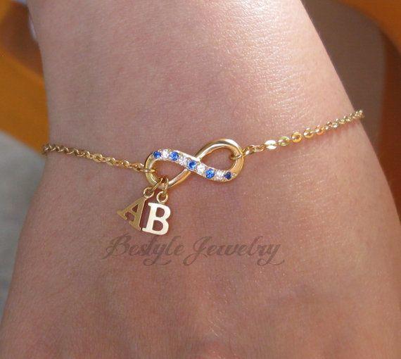 initial name bracelet infinity bracelet a perfect gift. Black Bedroom Furniture Sets. Home Design Ideas