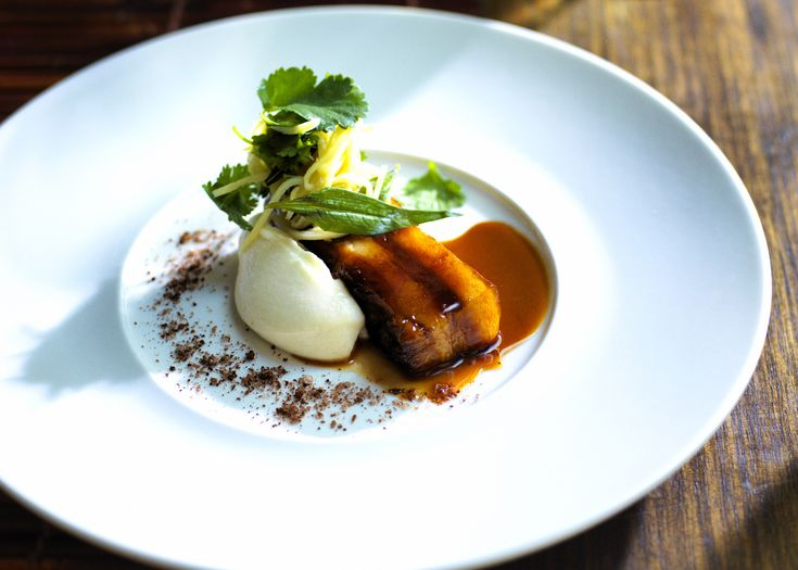 Pork Belly with Star Anise, Cauliflower Puree & Green Mango | FOODWISE