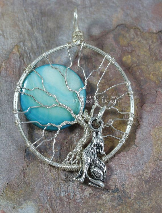 Howling Wolf Full Moon Tree of Life Pendant Silver Wire Wrapped Jewelry Blue Moon Werewolf Therian Wolves Necklace Phoenix Fire Designs