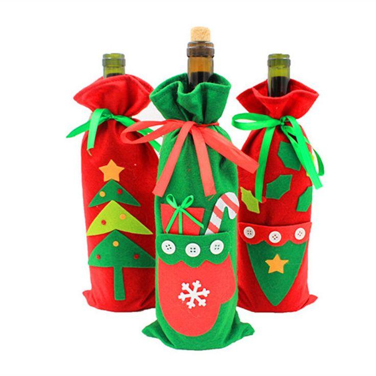 크리스마스 와인 병 커버 가방 크리스마스 저녁 식사 테이블 장식 산타 클로스 새해 홈 파티 실내 크리스마스 장식