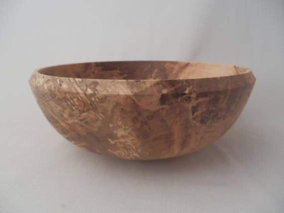 Large Wooden Salad Bowl Spalted Maple Hand Turned