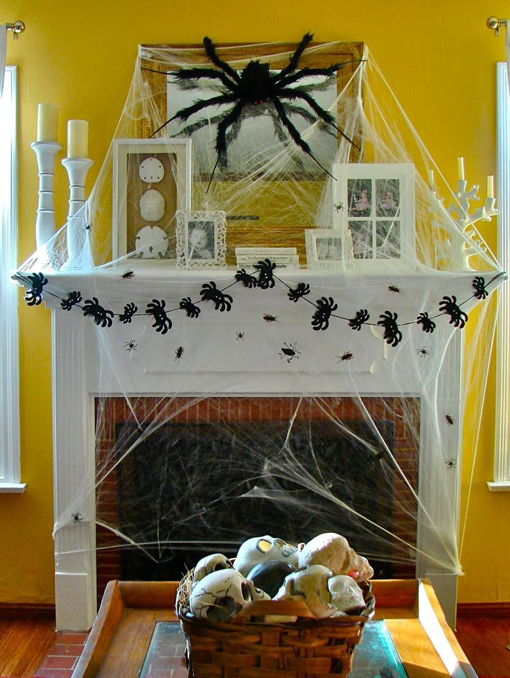 Halloween mantle / mantel: Halloween Decorations, Scary Halloween Decor, Crafts Holidays Ideas, Halloween Parties, Halloween Mantels, Halloween Mantles, Fireplaces, Halloween Decor Ideas, Spiders Web