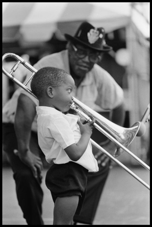A young Trombone Shorty with legendary guitarist Bo Diddley in 1990. Michael P. Smith/ Courtesy of Troy Andrews http://eclipcity.com