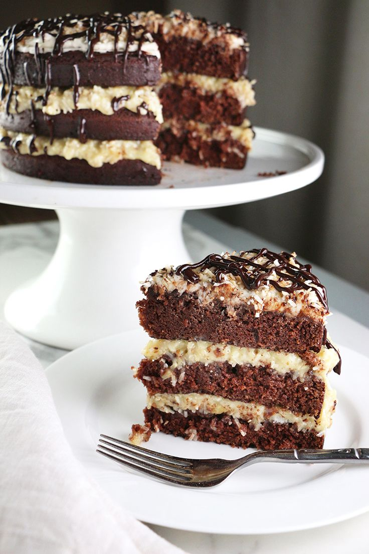 Samoa Layer Cake -- Chocolate Cake with Coconut Pecan Frosting, Toasted Coconut Topping, and Chocolate Drizzle