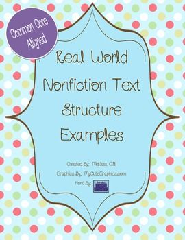Here's a set of pages that each include a sample reading and questions related to text structure identification.
