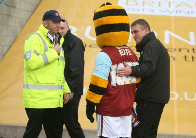 Clarets mascot Bertie Bee endured a stint in the cells after being sensationally sent off for unsporting bee-haviour during the top of the t...