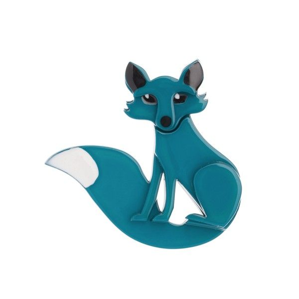 "Limited Edition Erstwilder Frond Fox teal resin brooch. ""What is it about Frond that attracts so many a friend? The eyes the ears or something at the other end?"""