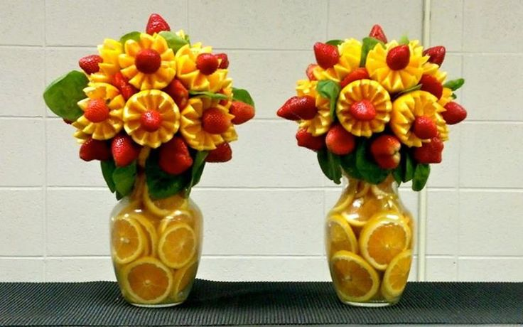 Orange & Strawberry Bouquets in Vases