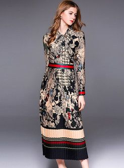 15ae5572e4 Ethnic Floral Print Bowknot Maxi Dress