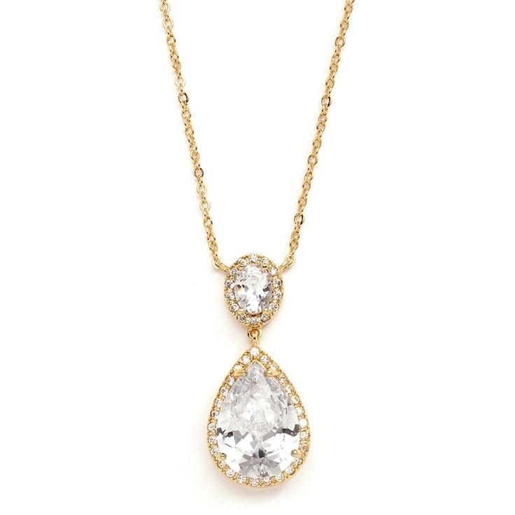 """This beautiful CZ bridal necklace boasts a pave framed oval with a brilliant pear-shaped drop. This 14K Gold plated wedding necklace is adjustable 16"""" to 18"""" with a 1 1/2"""" h pendant."""