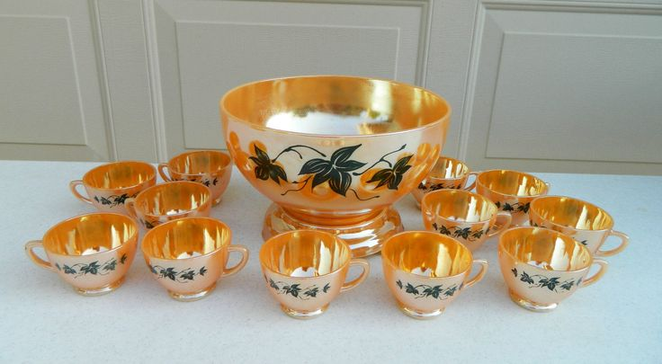 14 Piece Anchor Hocking Peach Luster Punch Bowl Set | eBay paid $22