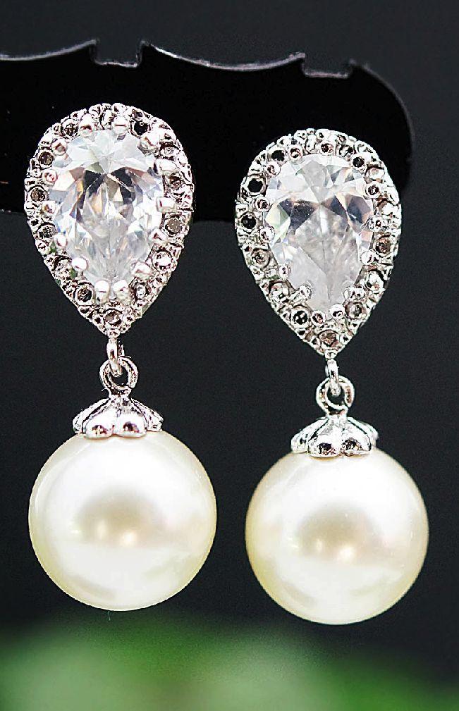 Bridal Swarovski pearl earrings