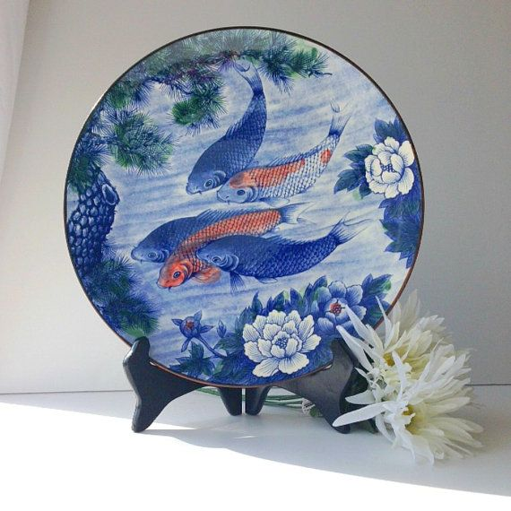 Blue Orange and White Asian Decorative Plate by EncoreVintageDecor, $36.00