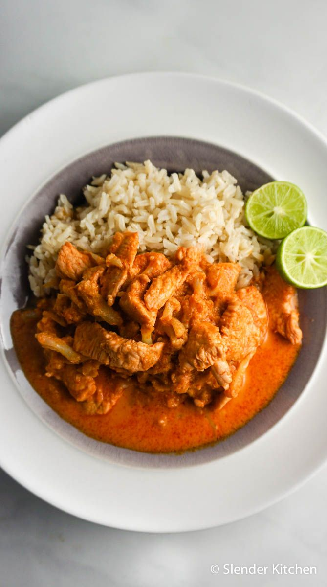 Thai Red Coconut Curry with Chicken - Slender Kitchen. Works for Clean Eating, Gluten Free, Low Carb, Paleo and Weight Watchers® diets. 220 Calories.