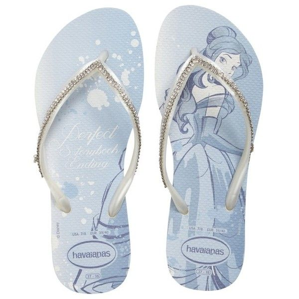 Women's Havaianas Slim Disney Princess Crystal Flip Flop ($110) ❤ liked on Polyvore featuring shoes, sandals, flip flops, white, embellished flip flops, havaianas sandals, white flip flops, white shoes and white strap sandals