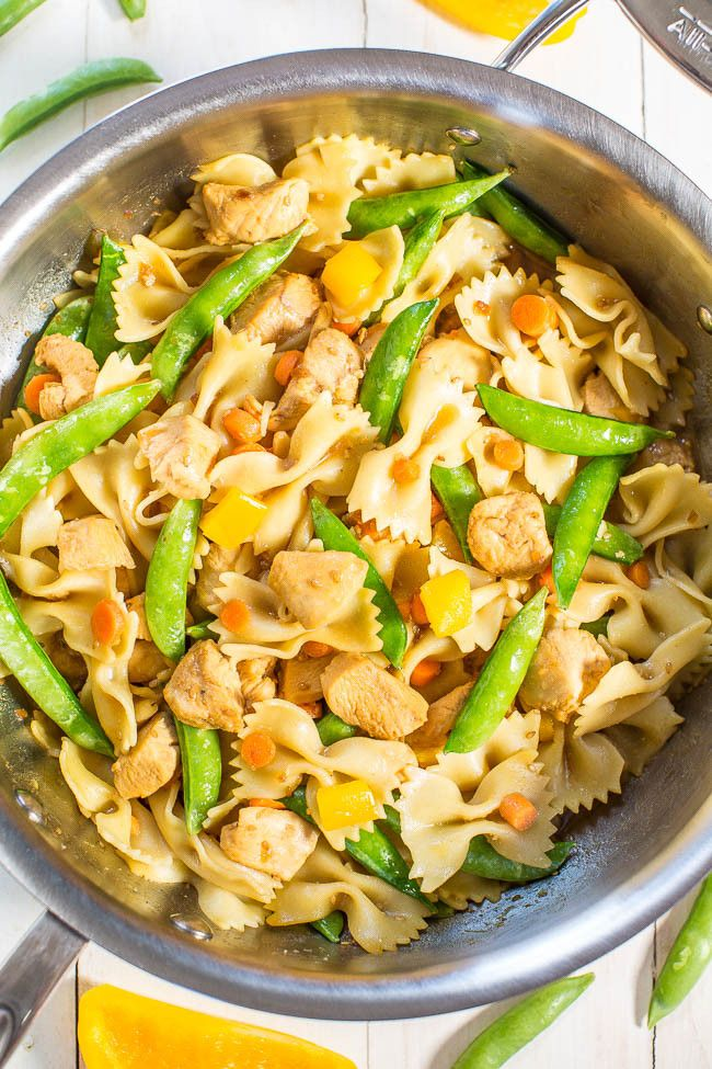 Chicken Teriyaki and Vegetable Bowtie Pasta - Juicy chicken coated in teriyaki sauce with crisp, crunchy veggies! Healthy, easy, 20 minute meal that's perfect for busy weeknights!!