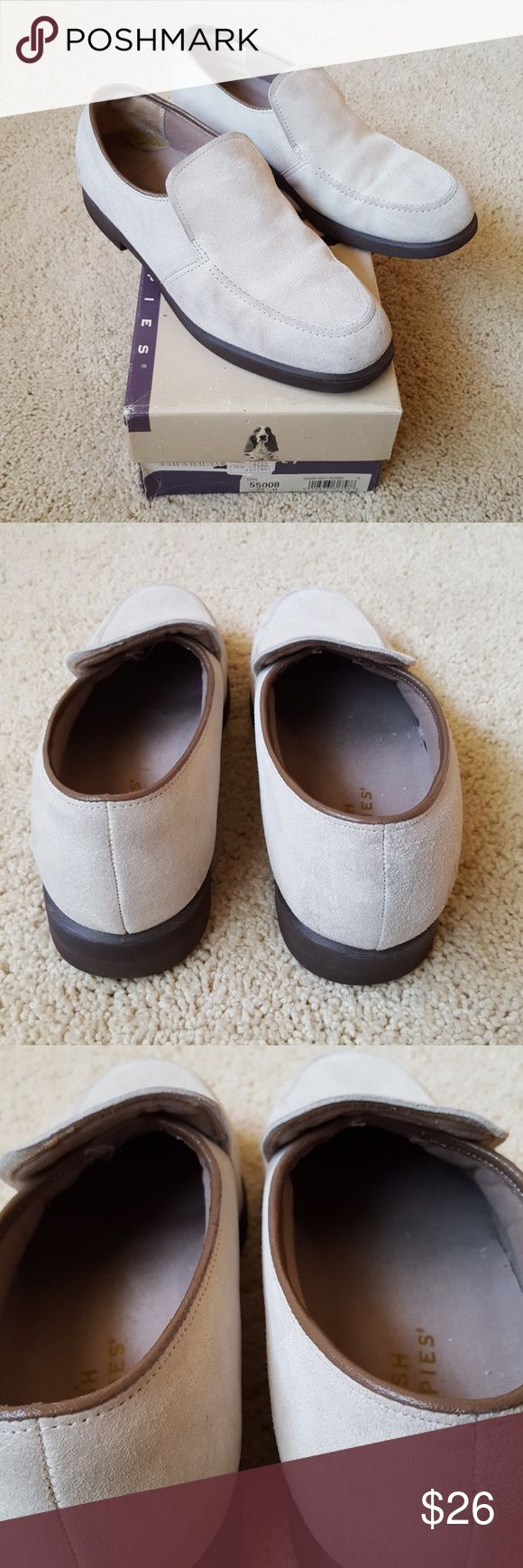 Hush Puppies Loafers in Weather Tight Suede Comfy vintage loafers from Hush Puppies in their weather tight suede; color is dawn white riverbuck.  Generally good condition - some scuffing, and wear on inside (see pics). Comes with care kit (brush, dry cleaning bar, and buck bag) from a smoke- and pet-free home. Hush Puppies Shoes Flats & Loafers