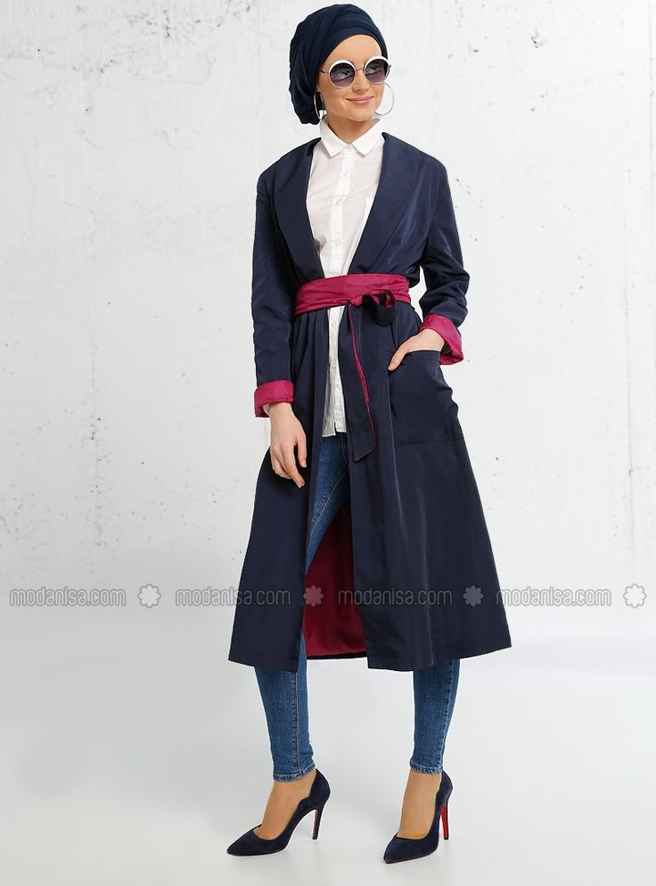 Navy Blue - Pink - Fully Lined - Shawl Collar - Trench Coat - Refka