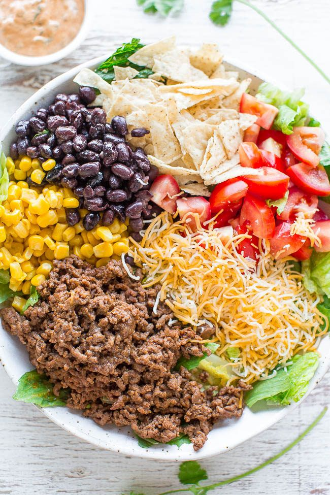 Loaded Beef Taco Salad with Creamy Lime Cilantro Dressing - Loaded with your…