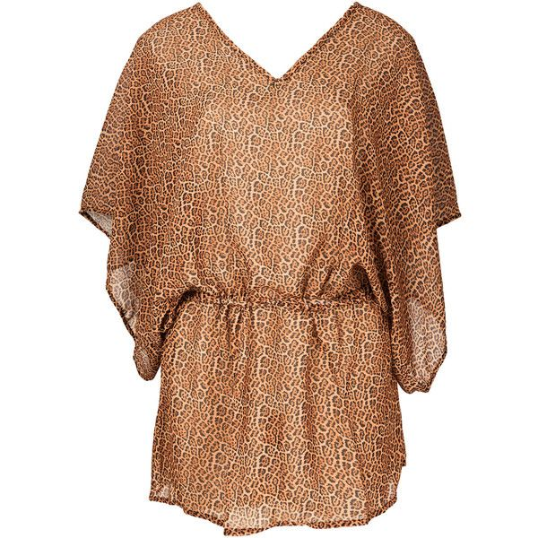 Ellis Beach Wear Annimal Print Beach Dress With Batwing Sleeves -... (€92) ❤ liked on Polyvore featuring dresses, brown, brown dress, animal dresses, mixed print dress, beach dress and brown print dress