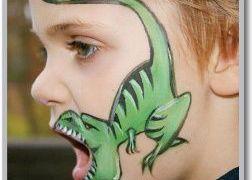 رسم على الوجه نصائح وأفكار مميزة للرسم على الوجه من موقع تعلم الرسم Dinosaur Face Painting Kids Face Paint Face Painting
