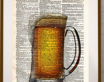 Bier kunst, bar illustraties, bar inrichting bier diversiteit, bier liefhebber kunst. Dont rechter een bier door de kleur!  Deze unieke en originele illustraties zijn gedrukt op authentieke vintage begin 1900 van woordenboek van boeken die ik heb gered uit boekhandelaren die besloten ze waren in onwaardige voorwaarde en bestemd is voor vernietiging.  Opmerking: Items komen niet in een frame. Dit is gewoon de print.  U zal niet krijgen deze exacte woordenlijst pagina. De pagina zal een…