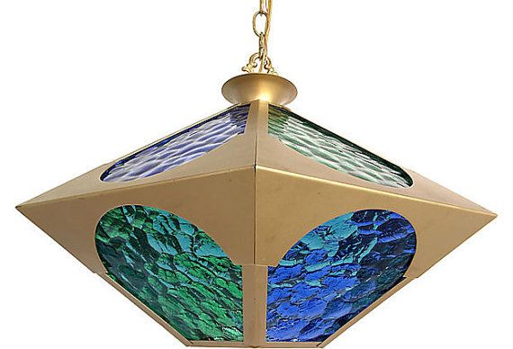 Midcentury Stained Glass Pendant//stained by CtheLightInteriors