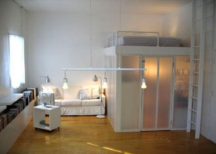 adult loft bed with stairs in white