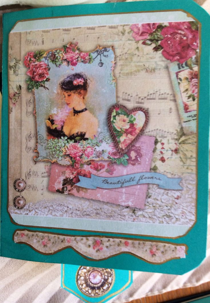 Shabby chick waterfall card, front