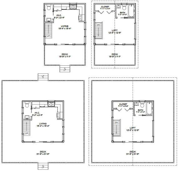 Tiny homes with a loft, 1.5 bath, washer / dryer combo unit, range, & lots of glass. Standard porch or wrap around porch.  **Standard Porch** Sq. Ft: 493 (256 1st, 237 2nd) Building size: 16-0 wide, 24-6 deep (including porch & steps) Main roof pitch: 8/12 Ridge height: 25 Wall height: 8 Foundation: CMU blocks Estimated cost to build (General wood framing (walls, roof, siding, decks), doors, drywall): ~$5,800  **Wrap Around Porch** Sq. Ft: 493 (256 1st, 237 2nd) Building size: 32-0 wide…