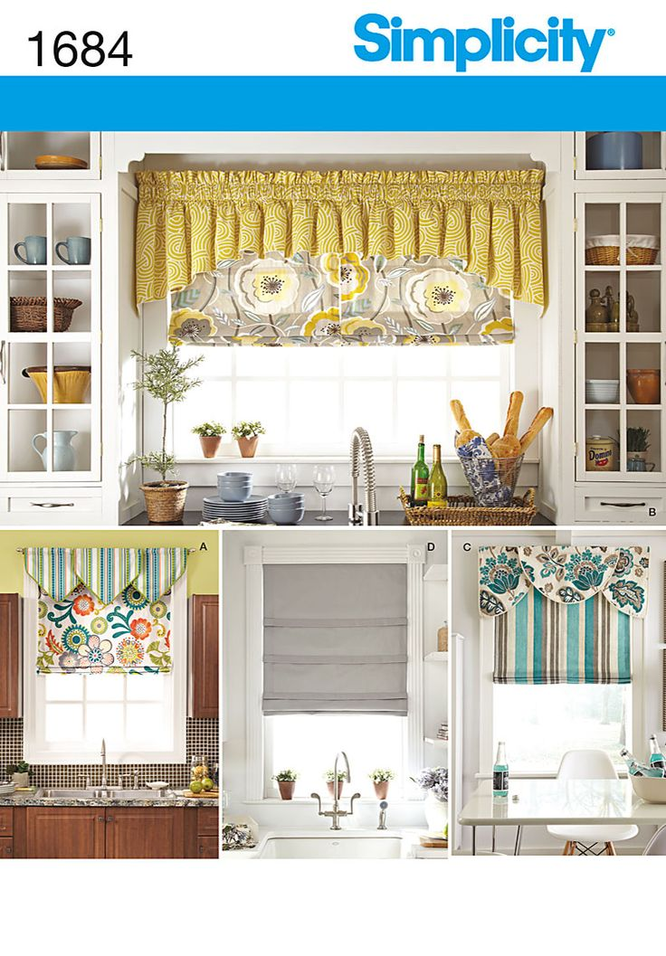 Simplicity 1684 kitchen curtains pinterest sewing patterns other and home - Kitchen valance patterns ...
