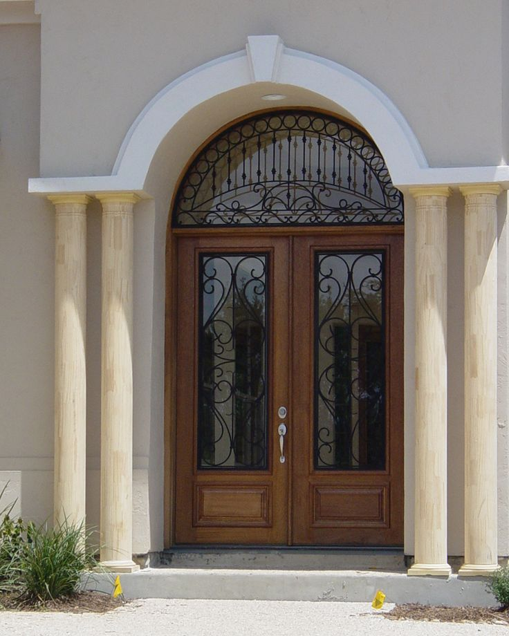 Wood And Wrought Iron Door: San Carlos Double With Half Round Transom