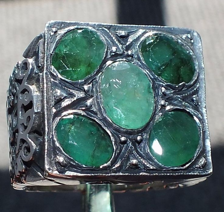 Emerald Sterling Silver Ring Unique handcrafted mens gemstone jewelry Zamrud #KaraJewels