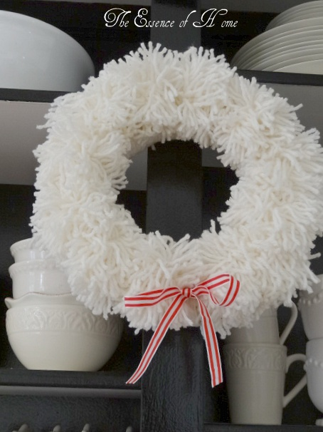 the essence of home white pom wreath just my type seasonal pinterest home the o 39 jays. Black Bedroom Furniture Sets. Home Design Ideas