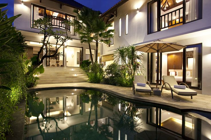 Canggu Terrace 2 bedroom villa by night