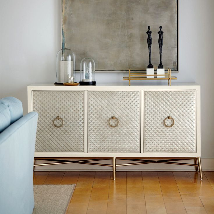 Bernhardt Salon Entertainment Bar Console in ivory silver leaf and soft gold  Bernhardt