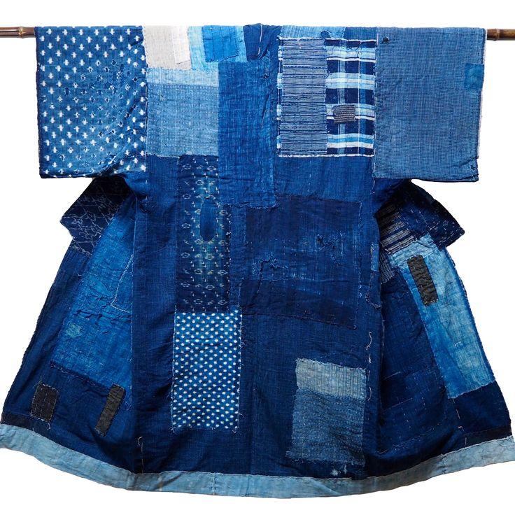 Exceptional Farmer's Indigo Cotton Boro Large Yogi Liner Boro-Boro From Every…