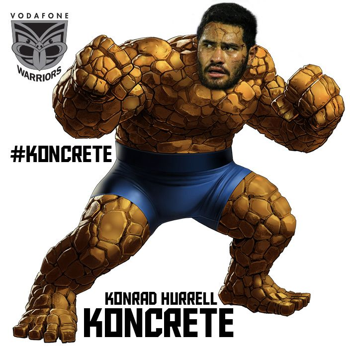 Konrad Hurrell runs into defenders like a wrecking ball. It's like tackling a concrete block