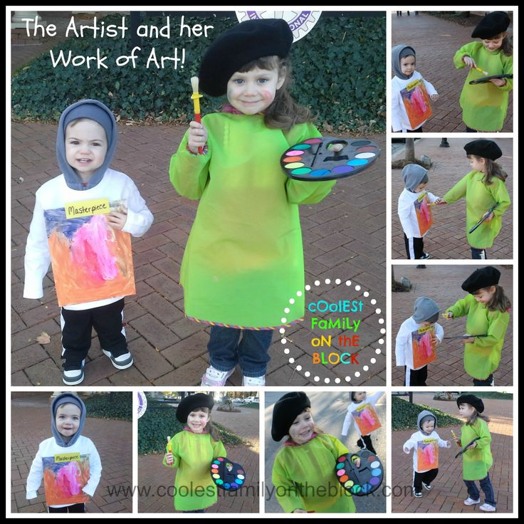 Easy No Sew Artist and Masterpiece Sibling Costumes (Coolest Family on the Block)