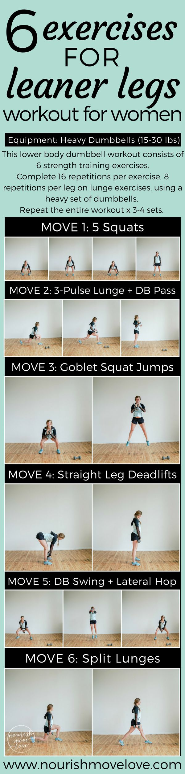 Build lean, strong legs with this strictly strength lower body dumbbell workout. Leg day workout pairing strength exercises with weight plyometrics. 6 exercises, repeat 3-4 sets, heavy set of dumbbells. At-home workout for glutes, butt, legs, thighs. Done