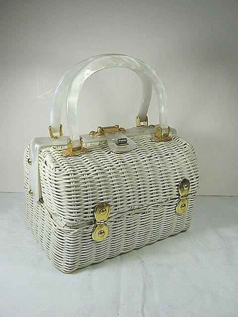 1950s WICKER & LUCITE Handbag