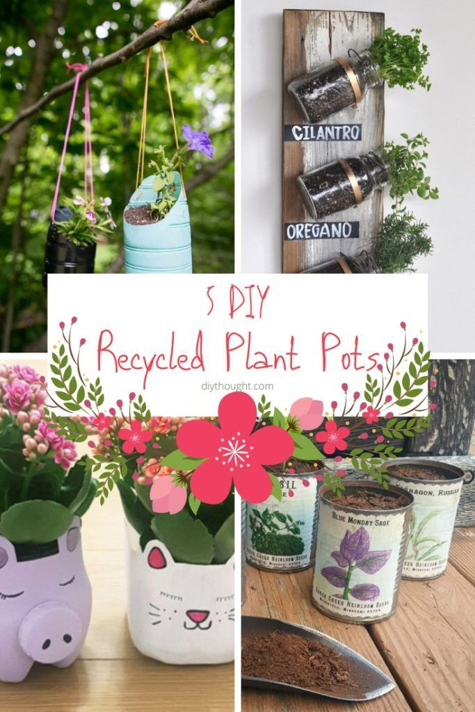 5 Diy Recycled Plant Pots Plant Pot Diy Diy Plants Potted Plants