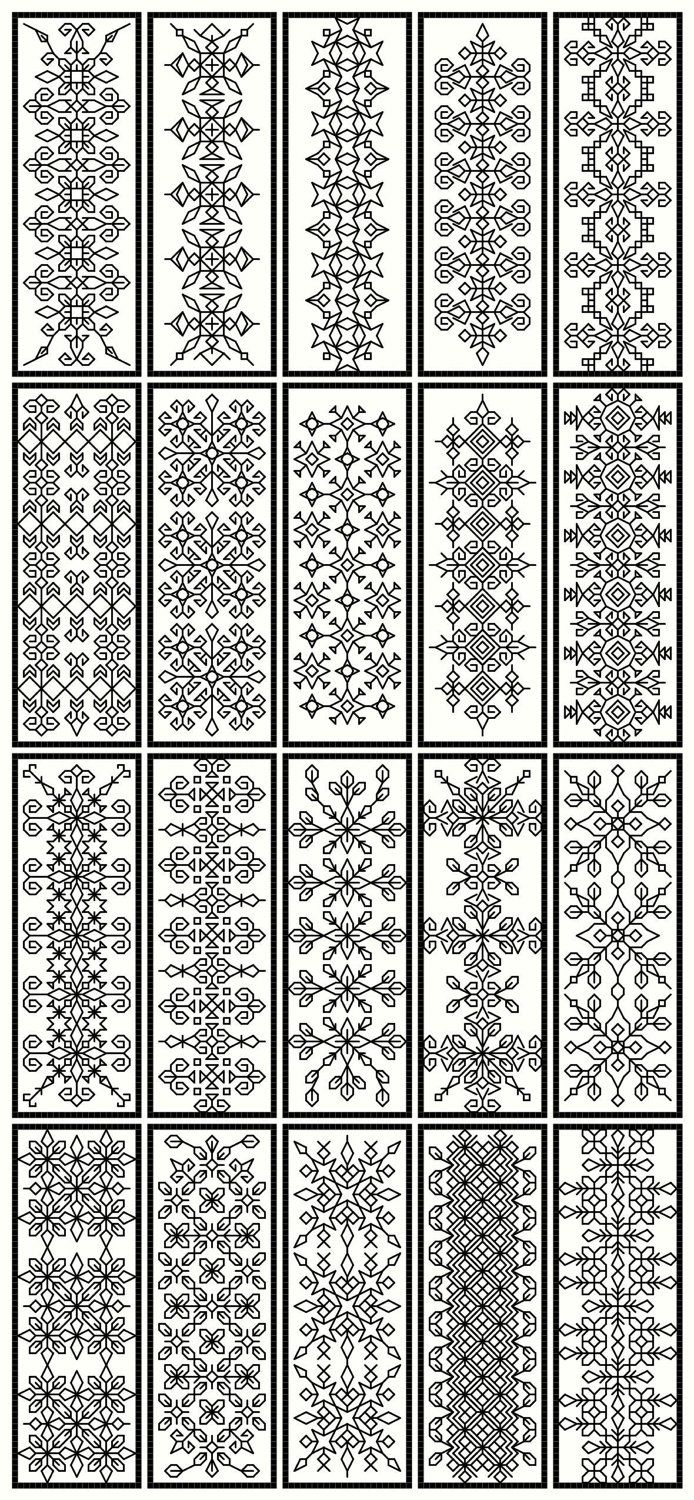 Blackwork collection..20 bookmarks, 40 snowflakes and floral borders pdf file. $12.00, via Etsy.