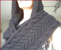 Knitting pattern for a cabled cowl with hood. This will keep you warm through the coldest winter!