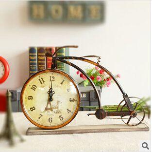 Yaratıcı hediyeler masa saati masa saati masa süsler bisiklet ev dekoratif el sanatları, El yapımı retro, Yüksek demir malzeme(China (Mainland))